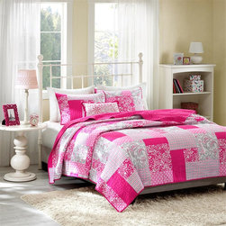 Mizone - Mizone Abbey Coverlet Set - Mizone Abbey Coverlet Set gives the look of a beautiful pieced quilt without the heavy price tag. This unique design uses plaid, floral, polka dot, paisleys and solid squares all printed on polyester microfiber for easy care. One decorative pillow use pink floral embroidery to tie this look together. Coverlet/Sham: 100% polyester microfiber printed, microfiber solid reverse Filling: 200gsm cotton fill Pillow: poly cover and poly fill