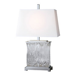 Uttermost - Uttermost Mosley Textured Glass Table Lamp - Mosley Textured Glass Table Lamp by Uttermost Thick Textured Art Glass Accented With Polished Nickel Plated Details. The Tapered Rectangle Hardback Shade Is A White Linen Fabric.