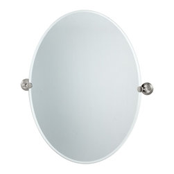 """Lamps Plus - Contemporary Gatco Marina Satin Nickel 28 1/2"""" High Tilt Wall Mirror - An excellent addition to a bathroom sink or vanity this oval mirror design has a beveled edge and comes with solid brass mounting brackets in a satin nickel finish. Tilting wall mirror. Satin nickel finish. Solid brass mounting brackets. Beveled oval mirror. Mirror glass only is 32"""" high 24"""" wide. 32"""" high. 28 1/2"""" wide. 2 1/2"""" deep. Weighs 15 1/2 lbs.  Tilting wall mirror.  Satin nickel finish.   Solid brass mounting brackets.   Beveled oval mirror.   Mirror glass only is 32"""" high 24"""" wide.  32"""" high.   28 1/2"""" wide.   2 1/2"""" deep.  Weighs 15 1/2 lbs."""