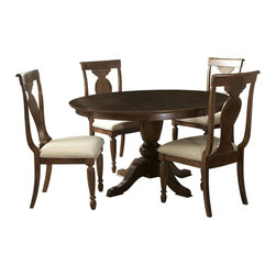 Liberty Furniture - Liberty Furniture Rustic Tradition 5 Piece 72x54 Dining Room Set in Cherry, Medi - Todays traditional has a more casual feel and this is mostly achieved through well, worn, rustic finishes. Rustic traditions is the heirloom quality Louis Philippe design with a burnished, rasped, rustic cherry finish. Cases feature chamfered pilasters, bun feet, drop ring and key hardware in an antique brass. Dining features two table options that work for smaller or larger scale areas. Beautiful shaped splat back chairs featured upholstered seats in a flax chenille. What's included: Dining Table (1), Side Chair (4).