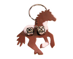 "Leather Pinto Horse Door Knob Hanger, Brown Leather - Brown & White Pinto Horse shaped leather door knob hanger. Hanger has  shiny silver colored bells and ring. The hanger is 6"" wide by 6"" tall. The ring is 3"" in diameter. Hang over door knob and bells ring whenever someone enters.  Door knob hanger has 2 bells on horse shaped leather."