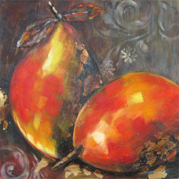 YOSEMITE HOME DECOR - Ripened Fruit I Art Painted on Canvas - FCJ7579E-1 is a classical style painting depicting a still life theme. It represents two pears, which make the most part of the painting. Though the theme and idea is classic, the representation of it is quite modern, as the pears are not looking like in reality, but they are artistically made. The pears are painted in a variety of colors, yet the dominating color is orange. There are also different shades of yellow in some spots on the pears and you can also find gold colored shapes on them. Also, the artist used many shades of orange to paint the two pears. The background is dark colored, also painted in many hues, and it gives a dramatic look to the still life painting. The FCJ7579E-1 artwork would bring a dramatic flare of still life to your home�s walls, as the painting is ready to be mounted on a wall. You can admire this beautiful, simple, but yet complex painting of still life. The way the artist chose to paint the two pears depicted in this painting make this piece of artwork an interesting and modern one, yet the theme is a classical one. The artist made a wonderful combination of colors and succeeded in creating a beautiful painting that draws into the attention of the viewer the two pears colored in wonderful shades of orange. This still life painting is a beautiful painting in which the artist put his imagination to create a nice piece of artwork that would make pleasure to the eye.  This work of art is hand painted on a gallery wrapped canvas and signed by the artist ensuring each piece has some subtle differences making it distinctly unique to each owner.  The high quality canvas wraps tightly around a sturdy wooden frame that will last for years to come.  The painting comes with either a pre-strewn wire or hinges on the back so that it�s ready for immediate wall mounting.  The light weight of the piece allows for easy hanging without worry of damaging your wall.  The acrylic paint creates a rich texture that will really catch the light, creating a very sophisticated allure. Each painting is carefully packaged and inspected prior to shipping, ensuring every piece arrives safely and ready to hang on your wall, making for a pleasant purchasing experience from beginning to end.