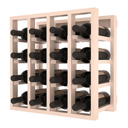 Lattice Stacking Wine Cubicle in Pine with White Wash Stain + Satin Finish - Designed to stack one on top of the other for space-saving wine storage our stacking cubes are ideal for an expanding collection. Use as a stand alone rack in your kitchen or living space or pair with the 20 Bottle X-Cube Wine Rack and/or the Stemware Rack Cube for flexible storage.