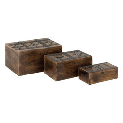Benzara - Wood Metal Box Detailed with Dark Finish - Set of 3 - With its minimalist appeal and neat lines, the Wood Metal Box S/3 12 in. , 10 in. , 8 in. W set of three is sure to make a charming addition to different room settings. Crafted to perfection with fine attention to details, these wood boxes are sure to stand out with their natural wood finish in a dark tone. The lid of these exquisite wooden boxes is intricately detailed with dark finished metal accents and decorative rivets that lend a charming, oriental touch to the design aesthetics. Boasting of premium wood construction, this box offers storage space and has an elegant rectangular shape. These wood boxes are sure to make a wonderful decor accent in modern and conventional home settings. These boxes make a beautiful present to your office colleague interested in collecting home decor pieces..