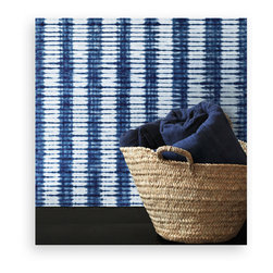 l'aviva home - Stone Wall Covering, Textured Non-Woven - This collection was developed in collaboration with habibou coulibaly, the master artisan we have long worked with in burkina faso. oversized swaths of each pattern were hand-dyed in natural indigo, and served as the source of our adaptation.
