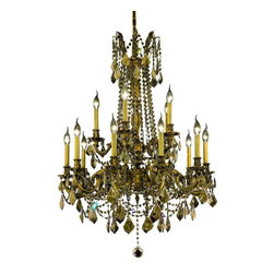 """PWG Lighting / Lighting By Pecaso - Reynard 15-Light 28"""" Crystal Chandelier 7833D28FG-GT-SS - Elegant lighting for gracious living, Reynard Crystal Chandeliers are a lustrous departure in crystal design. Beginning with the solid brass sculptured and finely detailed frame, this series may be dressed in a choice of extraordinarily clear or colored crystal prisms."""
