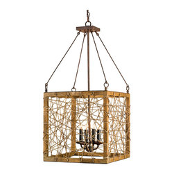 Kathy Kuo Home - Modern Rustic Strung Frame Wooden 4 Light Lantern Pendant - Industrial rustic and organic modern lighting doesn't get more highbrow than the Entwined Lantern.  With a nod to found object lighting design, the string framed wood box becomes an art piece casting unique shadows wherever it is hung.