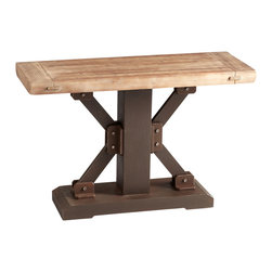 Kathy Kuo Home - Kent Industrial Loft Raw Iron Masculine Natural Wood Console - Industrial loft style furniture is inspired by the creative act of reclaiming found objects and revealing a new, functional purpose.  This slim console embodies this approach to perfection, creating a rustic industrial effect that also performs serious work.