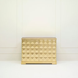 Diamond Chest - Baker Furniture - From the dining room to living room to the bedroom, this piece is ideal for any space. Both functional and elegant, the gold leaf faceted cabinet features dual panels that open to reveal a delightful surprise, Chinese-red interior.