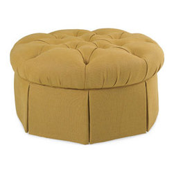 Garrity Round Ottoman by CR Laine - This beautiful upholstered ottoman only needs a tray atop it to transform into a functional coffee table. It's also certified green and made in the U.S.A.