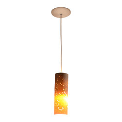 Lightexture - Seedlamp Pendant - LED Lighting, Rice Pattern - Plant this pendant where you need earthy, modern enlightenment. Each shade is handmade of thin porcelain that gets its pattern from the voided traces of actual seeds — rice or barley and quinoa. Clean, white and modern when off, it casts an amber glow when lit.