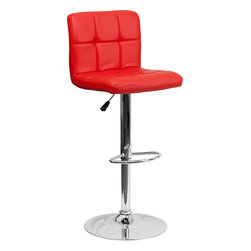 Flash Furniture - Contemporary Red Quilted Vinyl Adjustable Height Bar Stool with Chrome Base - This sleek dual purpose stool easily adjusts from counter to bar height. The simple design allows it to seamlessly accent any area in the home. Not only is this stool stylish, but very comfortable to provide you with an amazing sitting experience! The easy to clean vinyl upholstery is an added bonus when stool is used regularly. The height adjustable swivel seat adjusts from counter to bar height with the handle located below the seat. The chrome footrest supports your feet while also providing a contemporary chic design.