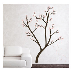 Design Your Wall - Cherry Blossom Tree - Wall Decal - This cherry blossom tree wall decals will beautifully accent any room. Wall decal set includes branches, twigs and, various cherry blossoms and is completely customizable. Tree can be set up to stand 8 feet tall. Some assembly required.