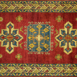 "UN Rug - 7'x10' Fire Brick Cross/Iris Motif Super Kazak Hand Knotted Wool Area Rug H6830 - ""Kazak (Kazakh, Kasak, Gazakh, Qazax). The most used spelling today is Qazax but rug people use Kazak so I generally do as well.The areas known as Kazakstan, Chechenya and Shirvan respectively are situated north of  Iran and Afghanistan and to the east of the Caspian sea and are all new Soviet republics.   These rugs are woven by settled Armenians as well as nomadic Kurds, Georgians, Azerbaijanis and Lurs.  Many of the people of Turkoman origin fled to Pakistan when the Russians invaded Afghanistan and most of the rugs are woven close to Peshawar on the Afghan-Pakistan border.There are many design influences and consequently a large variety of motifs of various medallions, diamonds, latch-hooked zig-zags and other geometric shapes.  However, it is the wonderful colours used with rich reds, blues, yellows and greens which make them stand out from other rugs.  The ability of the Caucasian weaver to use dramatic colours and patterns is unequalled in the rug weaving world.  Very hard-wearing rugs as well as being very collectable"""