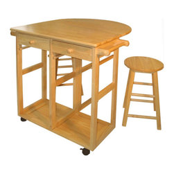 """Casual Home - Kitchen Cart - Features: -Made of 100% solid wood.-Design with drop leaf table top.-Kitchen Cart collection.-Product Type: Kitchen Cart.-Collection: Kitchen Cart.-Counter Finish: Natural.-Hardware Finish: Yellow Zinc.-Distressed: No.-Powder Coated Finish: No.-Gloss Finish: Yes.-Base Material: Solid wood.-Counter Material: Solid wood.-Hardware Material: Stainless steel.-Solid Wood Construction: Yes.-Number of Items Included: 1.-Stain Resistant: No.-Warp Resistant: Yes.-Exterior Shelves: No.-Drawers Included: Yes -Number of Drawers: 2.-Push Through Drawer: No.-Dovetail Joints: Yes.-Drawer Dividers: No.-Drawer Handle Design: Knobs.-Silverware Tray : No..-Cabinets Included: No.-Towel Rack: Yes -Removable Towel Rack: No..-Pot Rack: No.-Spice Rack: No.-Cutting Board: No.-Drop Leaf: Yes.-Drain Groove: No.-Trash Bin Compartment: No.-Stools Included: Yes -Number of Stools Included: 2..-Casters: Yes -Locking Casters: Yes.-Removable Casters: Yes..-Wine Rack: No.-Stemware Rack: No.-Cart Handles: Yes.-Finished Back: Yes.-Swatch Available: No.-Commercial Use: Yes.-Recycled Content: No.-Eco-Friendly: No.-Product Care: Wipe with damp cloth.Specifications: -2 Drawers.-2 Towel bars.-ISTA 3A Certified: No.Dimensions: -Overall Height - Top to Bottom: 33"""".-Overall Width - Side to Side: 28"""".-Overall Depth - Front to Back: 30"""".-Width Without Side Attachments: 28"""".-Height Without Casters: 31"""".-Countertop Thickness: 0.75"""".-Countertop Width - Side to Side: 28"""".-Countertop Depth - Front to Back: 15"""".-Leaf: -Leaf Width - Side to Side: 28"""".-Leaf Depth - Front to Back: 15""""..-Drawer: -Drawer Interior Height - Top to Bottom: 3"""".-Drawer Interior Width - Side to Side: 10.25"""".-Drawer Interior Depth - Front to Back: 10.25""""..-Stool: -Stool Height - Top to Bottom: 21"""".-Stool Width - Side to Side: 11.5"""".-Stool Depth - Front to Back: 11.5"""".-Stool Weight: 6 lbs..Assembly: -Assembly Required: Yes.-Tools Needed: Allen wrench.-Additional Parts Required: No.Warranty: -90 Day manufacturer warranty"""