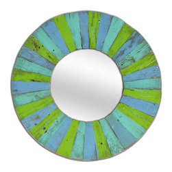 Round Mirror HANTAI. Made from recycled boat wood. - Recycled boat wood mirror in shades of turquoise, blue and green brings images of the sea into your home.