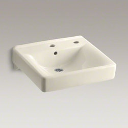 """KOHLER - KOHLER Soho(R) 20"""" x 18"""" wall-mount/concealed arm carrier bathroom sink right-ha - When your lavatory needs to handle high-volume traffic, premium KOHLER materials are more important than ever. Crafted of vitreous china, your Soho wall-mount lavatory will provide a lifetime of beauty thanks to our exclusive KOHLER glaze. This remarkably hard, glossy finish protects the surface for a clean, sanitary sink that maintains its polished shine throughout years of busy use. This model also features drillings for a center-mount faucet and a concealed arm carrier."""