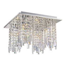 Lite Source - Lite Source Helanie Modern / Contemporary Flush Mount Ceiling Light X-61105-LE - Delicate panel crystal shades feature staggered prism curtain with modern chrome finish metal frame brings an exquisite illumination to any setting.