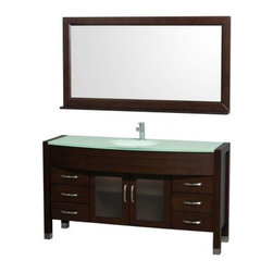 Wyndham Collection Daytona 60-in. Single Bathroom Vanity Set - Espresso - An instant upgrade for your master bath, the Wyndham Collection Daytona 60-in. Single Bathroom Vanity Set - Espresso provides contemporary style and practicality, too. This set is made of solid, eco-friendly zero emissions wood and comes complete with an integral sink in your choice of countertop materials plus a matching full-length framed mirror. Two fully framed glass insert doors hide shelving for hidden storage while three drawers on either side keep you organized. All counters are pre-drilled for single-hole faucets. Faucet not included.About the Wyndham CollectionWyndham and the Wyndham collection are all about refinement, detailing, uniqueness, quality, and longevity. They are dedicated to the quality of their products and own the factory where each piece is constructed. This allows Wyndham to offer products that reflect the rigorous quality standards required for every piece that is offered to their customers. The Wyndham collection showcases elegant, modern design styles that highlight functionality and style in every detail.