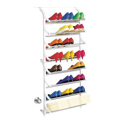 Lynk - 24 pair OverDoor Shoe Rack in White - Adjusts to fit the thickness of any door. Permanently mounted to a door and wall. Locks together in seconds. Holds shoeboxes. Patented. Made from steel and polymer. Made in USA. 21 in. W x 7.4 in. D x 48.75 in. H (4.25 lbs.). Assembly InstructionLynk products offer great storage solutions for the kitchen, pantry, closet, laundry, bath and garage.