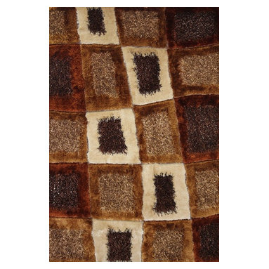 Rug - Hand-tufted Brown Shag Rug, Brown, 2 X 8 Ft., Geometric, Hand-Tufted Area Rug - SHAGGY VISCOSE  DESIGN COLLECTION