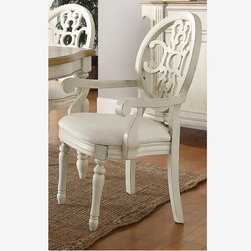 Coaster 2 Country Antique White Oak Wood Dining Arm Chairs Fabric Seat - Features