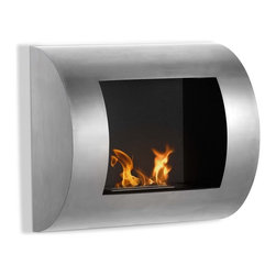 Luna Wall Mount Ethanol Fireplace - A fire for the fireless. If you crave a fireplace and don't have one, now you can. This wall-mounted fireplace is easy to install and looks stylish in any room. Hang it in your bedroom for a cozy, warm luxurious feeling.