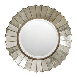"""Uttermost Amberlyn Sunburst Gold Mirror - Heavily antiqued gold leaf with burnished edges and antiqued, etched glass panels. The round, center mirror with generous 1 1/4"""" bevel, is surrounded by heavily antiqued gold leaf mirrors with burnished edges and antiqued, etched glass panels."""