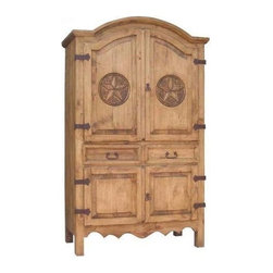 Million Dollar Rustic - Sierra Armoire w Hand Carved Stars - Includes garment rod used as wardrobe hanger. Classical style. Two drawers. Adjustable shelves top and bottom. Suitable for storage and entertainment. Warranty: One year. Made from white pine. Inside top: 42 in. W x 21 in. D x 34 in. H. Inside bottom: 42 in. W x 21 in. D x 19 in. H. Overall: 47 in. W x 23 in. D x 78 in. H (180 lbs.)