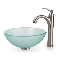 Kraus - Kraus Frosted 14 inch Glass Vessel Sink and Riviera Faucet Satin Nickel - *Add a touch of elegance to your bathroom with a glass sink combo from Kraus