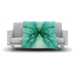 "Kess InHouse - Alison Coxon ""Butterfly Blue"" Green Black Fleece Blanket (80"" x 60"") - Now you can be warm AND cool, which isn't possible with a snuggie. This completely custom and one-of-a-kind Kess InHouse Fleece Throw Blanket is the perfect accent to your couch! This fleece will add so much flare draped on your sofa or draped on you. Also this fleece actually loves being washed, as it's machine washable with no image fading."