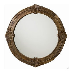 Arteriors - Arteriors Heaton Mirror - This round solid wood mirror features rich carved detailing in a sandblast antique waxed finish. An impressive classic design made fresh with this casual finish. Security cleat attachment.