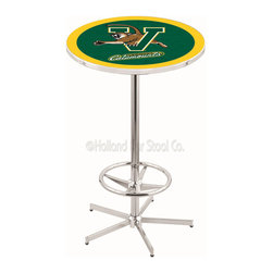 Holland Bar Stool - Holland Bar Stool L216 - 42 Inch Chrome Vermont Pub Table - L216 - 42 Inch Chrome Vermont Pub Table  belongs to College Collection by Holland Bar Stool Made for the ultimate sports fan, impress your buddies with this knockout from Holland Bar Stool. This L216 Vermont table with retro inspried base provides a quality piece to for your Man Cave. You can't find a higher quality logo table on the market. The plating grade steel used to build the frame ensures it will withstand the abuse of the rowdiest of friends for years to come. The structure is triple chrome plated to ensure a rich, sleek, long lasting finish. If you're finishing your bar or game room, do it right with a table from Holland Bar Stool.  Pub Table (1)