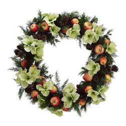 Silk Plants Direct - Silk Plants Direct Apple, Amaryllis and Juniper Wreath (Pack of 1) - Pack of 1. Silk Plants Direct specializes in manufacturing, design and supply of the most life-like, premium quality artificial plants, trees, flowers, arrangements, topiaries and containers for home, office and commercial use. Our Apple, Amaryllis and Juniper Wreath includes the following: