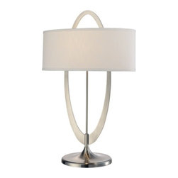 George Kovacs - Earring 1-Light Oval Table Lamp - Total ellipse: This contemporary table lamp creates a bit of drama for your room with the simple the intersection of two elegant ovals. The base incorporates a burnished steel ellipse, bisected by a soft white-linen oval shade. The result is stellar.
