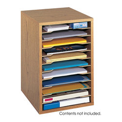 "Safco - Vertical Desk Top Sorter - 11 Compartment - Oak - Small design with big results! This compact organizer is perfect for desktop literature and form organization. Shelves are removable during assembly to customize compartment size to individual preferences. Includes 10 hardboard shelves that form up to 11 letter size compartments that support up to 15 lbs. Constructed of compressed wood with a laminate finish and has a solid hardboard back. Easy assembly with pre-glued dowels.; Features: Material: Hardboard (shelves), Furniture Grade Particleboard, Corrugated Fiberboard (back); Color: Oak; Finished Product Weight: 13 lbs.; Assembly Required: Yes; Tools Required: Yes; Limited Lifetime Warranty; Dimensions: 10 3/4""W x 12""D x 16""H"