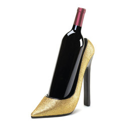 """Gifts Galore - Sparking Shoe Wine Holder - Dress up your favorite bottle of wine with this dazzling gold shoe wine bottle holder.  It features a sparkling finish that will fit right into your holiday decor and most standard wine bottles are a """"shoe-in"""" for fit!  Wine bottle not included."""