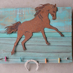 Farm Horse (rusted steel) on turquoise wood frame - Made out of rusted steel, mounted on a painted reclaimed wood frame. Each piece is unique and will slightly vary from the picture depending on the wood's look.