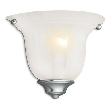 Dolan Designs Lighting - Traditional Sconce with Alabaster Glass and Satin Nickel Finish - 225-09 - This sconce features an alabaster glass shade, which provides diffused illumination perfect for a bathroom, bedroom or hallway. The bell-shaped shade has scalloped pattern, which adds depth and dimension. The soft satin nickel finish goes with a variety of color schemes. Takes (1) 60-watt incandescent flame bulb(s). Bulb(s) sold separately. UL listed. Dry location rated.