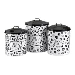 "IMAX CORPORATION - Dog Food Storage Canisters - Set of 3 - This set of three storage canisters are great for storing dog food and treats. The lidded design keeps food fresh. Set includes small, medium and a large size. Set of 3 in various sizes measuring around 18.5""L x 15""W x 15""H each. Shop home furnishings, decor, and accessories from Posh Urban Furnishings. Beautiful, stylish furniture and decor that will brighten your home instantly. Shop modern, traditional, vintage, and world designs."
