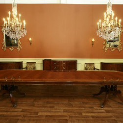 Extra Large and Long Mahogany Dining Room Table with 3 Leaves (LH 5) - This extra large and long dining room table is shown here with all three leaves in, opening it up to 156 inches and can sit 14 to 16 people.