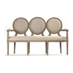 """Zentique - Medallion Settee by Zentique - Three medallions line up forming a unique settee. Snuggly upholstered in natural linen with padded arm rests. Limed gray oak frame reveals the beauty of natural graining. Try this in place of a traditional bench at a dining table or as a refreshing option to a couple of chairs. (ZEN) 61.5"""" wide x 24"""" deep x 39"""" high"""