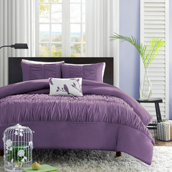 Mi-Zone - Mizone Ramona 4-piece Duvet Cover Set - The Ramona Duvet Cover Set creates an opulent look for the bedroom to update current decor. The ruched fabric on the duvet cover and sham gives the appearance of scalloped edges and ruffles covering the bed.