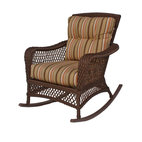 WickerParadise - Savannah Collection, Vinyl Wicker Rocker - Your ultimate porch rocker is here! Traditional lattice-weave design in weather-worthy vinyl wicker — plus comfy, classic striped upholstery will have you sitting a spell to listen to the crickets