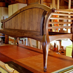 Handmade Settee In Walnut With Leather Upholstery - A back view of the settee in the workshop.