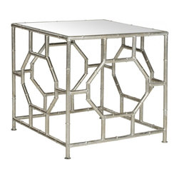 Safavieh - Rory Accent Table - The Rory Accent Table's chic mirrored top and Chinoiserie-inspired silver leaf faux bamboo base in forged iron boast classic style with a refined, modern edge. Rory's updated Asian style would feel at home in the palace of a Park Avenue princess.