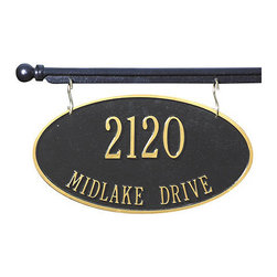 """Ballard Designs - St. Yorre Hanging Address Sign - Made in the USA. Sold separately. Sign available in three shapes. Mount sign to flat or convex surfaces. Classic, two-sided hanging sign and mounting bar is hand crafted of recycled cast aluminum and powder coated to stand up to the harshest weather conditions. Sign features black finish with hand applied gold highlights. Specify up to five 3"""" characters for top line; up to seventeen 1 1/4"""" characters for second line. Hanging Address Sign and Mounting Bar features:. . . . *Please note that personalized items are non-returnable."""