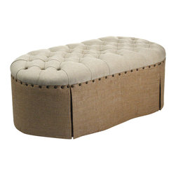 Zentique - Tufted Ottoman - Set this chic ottoman at the end of your bed for a sophisticated look or use it in the living room for extra seating. Classic brass nailhead trim complements the linen upholstery perfectly. It's a timeless piece for any well-styled home.