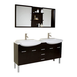 Fresca - Fresca Vetta Double Sink Modern Bathroom Vanity w/Espresso Finish - You saw this vanity in that showroom downtown where all the chic things in life come together and demand to be placed in your home. Your space requires something stunning but not stunned, something simple but with great little touches. This is a great double sink vanity with an espresso finish solid oak wood that fits every desire. Clean lines and slim details create a sleek modern urban creation that calmly brings a bathroom together. Details such as chrome hardware and a white ceramic basin complete a streamlined look that brings a touch of quiet class to any decor. This Vanity consists of slow closing hinges on side doors, self closing top quality mechanism on the pull-out shelfs. Thick and glossy countertop.