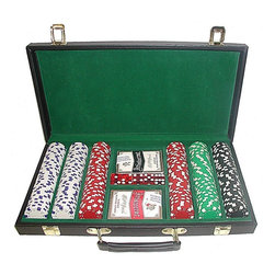 Trademark Global - 300 Pc Dice-Striped Chips Set w Carrying Case - Includes Chips case, 300 Chips, 2 decks of cards and set of 5 dice. 39 mm. Dia. casino-sized chips. 11.5 g. in weight. 16.5 in. L x 10 in. W x 3 in. H (14.75 lbs.)Chips are produced from a composite resin and an insert that gives them the weight of a heavy casino quality chip. The detail on these chips is great. The dice and stripes around the chip as well as the detail on the edge edge of the chip add to the great appearance! The padded vinyl chip case is lined with rich Green felt and has a space for 300 chips, 2 decks of cards and 5 dice. Playing cards depicted are subject to change without notice. It is at our discretion to replace playing cards with a similar product of equal or higher quality at any time. The color and quantity shown are the most popular and have been pre-selected for you, however, you can make changes per your requirements.